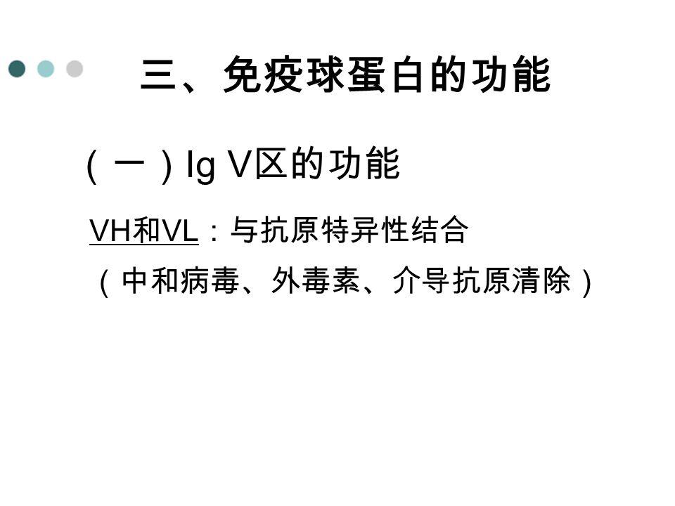 (一) Ig V 区的功能 VH 和 VL :与抗原特异性结合 (中和病毒、外毒素、介导抗原清除) 三、免疫球蛋白的功能
