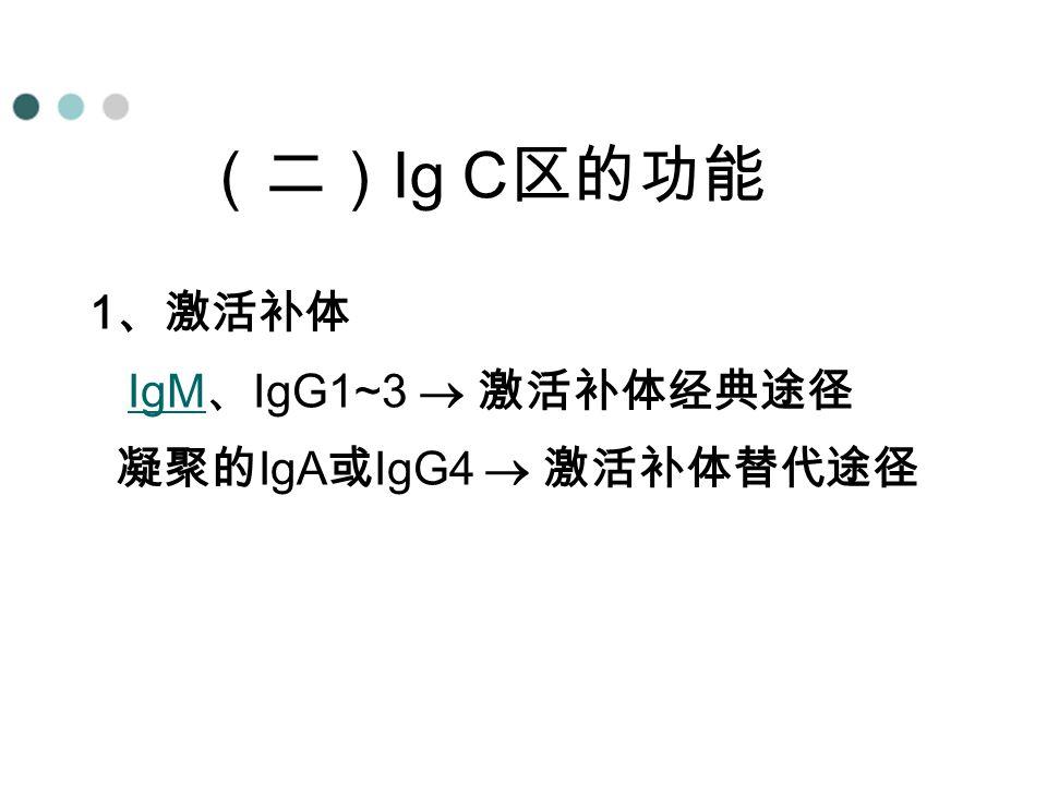 4、4、 1 、激活补体 IgM 、 IgG1~3  激活补体经典途径IgM 凝聚的 IgA 或 IgG4  激活补体替代途径 (二) Ig C 区的功能
