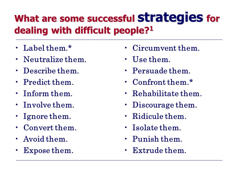 What are some successful strategies for dealing with difficult people? 1 Label them.* Neutralize them. Describe them. Predict them. Inform them. Invol