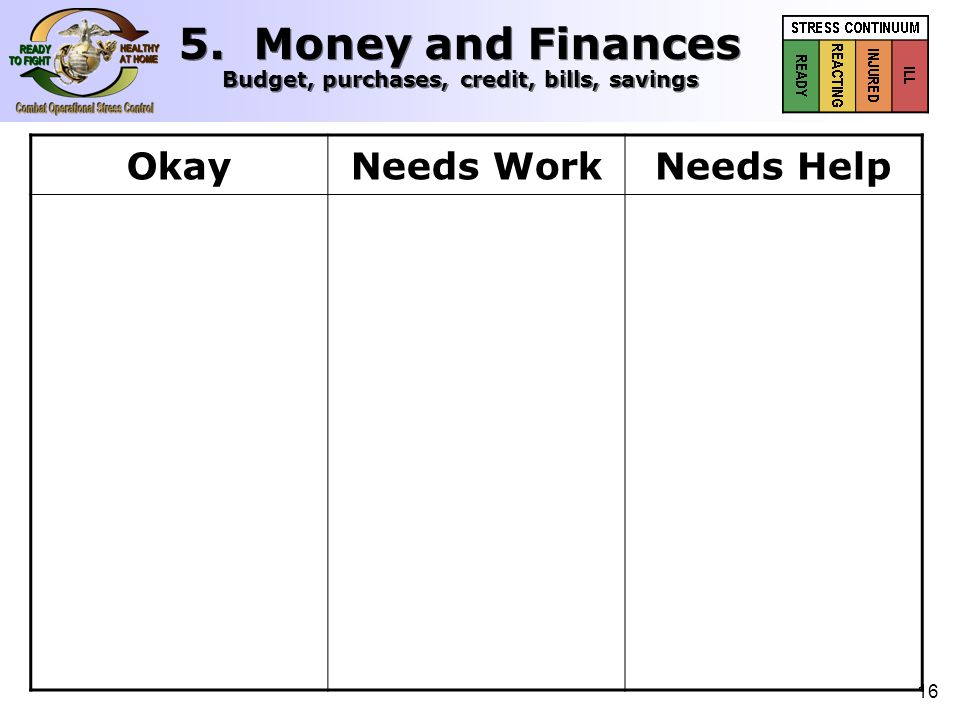 17 OkayNeeds WorkNeeds Help  Saving money  Bills paid up to date  Keeping to budget  Debt under control  Working a financial plan  Spending in sync with spouse  Finances doing fine  Minimal savings  Bills past due  Financial worries  Uncomfortable debt  Vague financial plan  Conflict with spouse over spending  Monthly concern over finances  No savings  Collection notices  Major financial stress  Large debt load  Creditors contacting command  Total disagreement over spending  Financial trouble 5.
