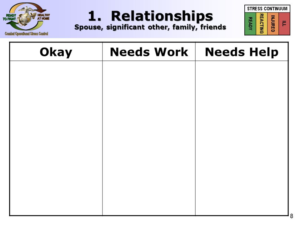 8 1. Relationships Spouse, significant other, family, friends OkayNeeds WorkNeeds Help