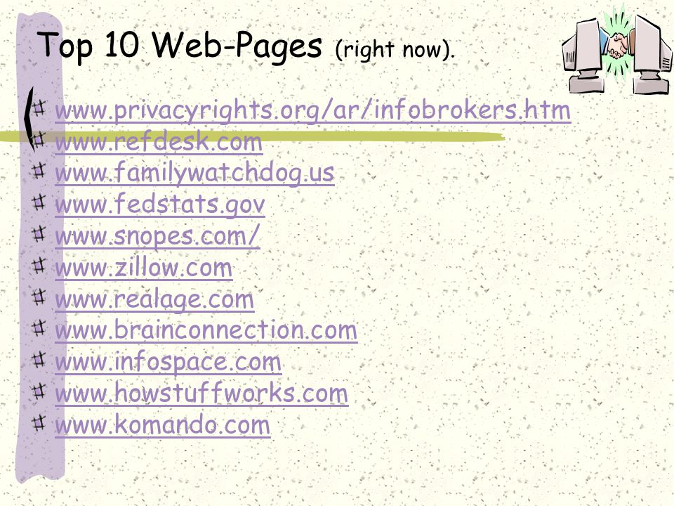 Top 10 Web-Pages (right now).