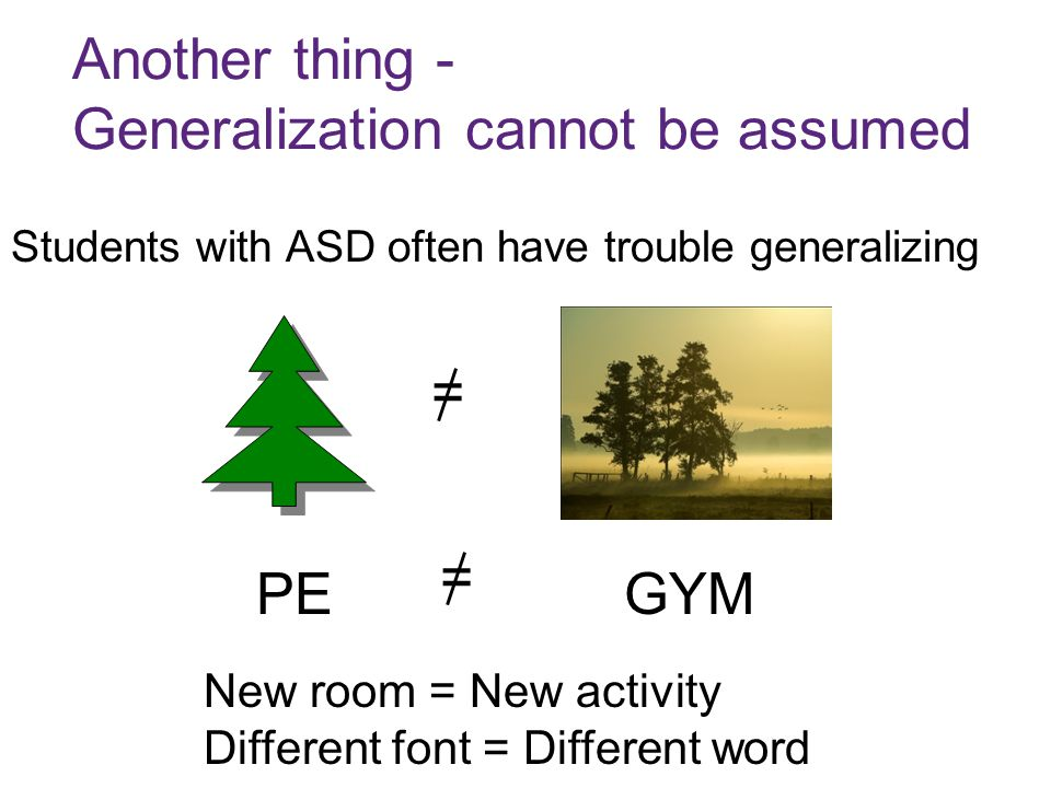 Another thing - Generalization cannot be assumed Students with ASD often have trouble generalizing = New room = New activity Different font = Different word PEGYM