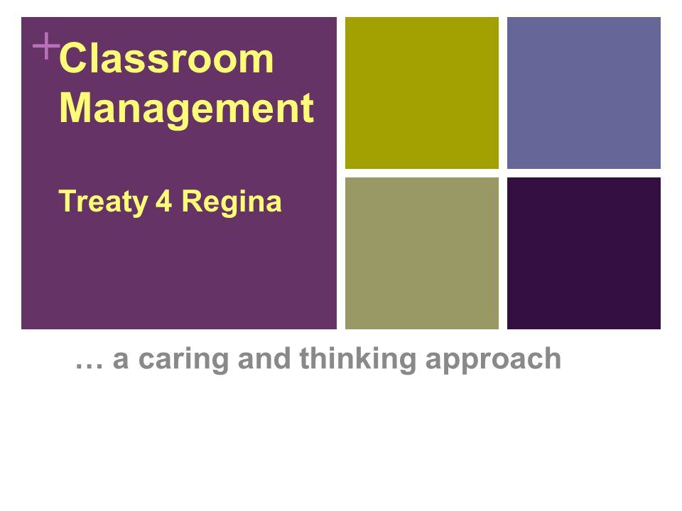 + Classroom Management Treaty 4 Regina … a caring and thinking approach