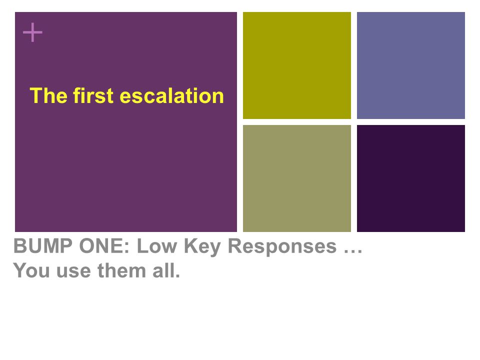 + The first escalation BUMP ONE: Low Key Responses … You use them all.