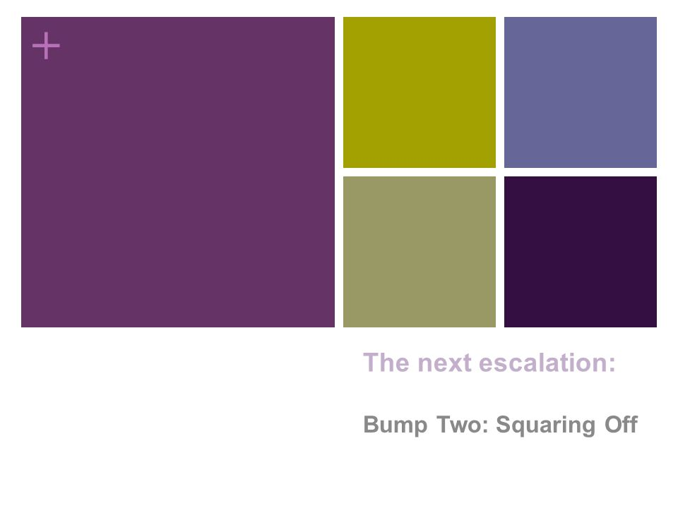 + The next escalation: Bump Two: Squaring Off