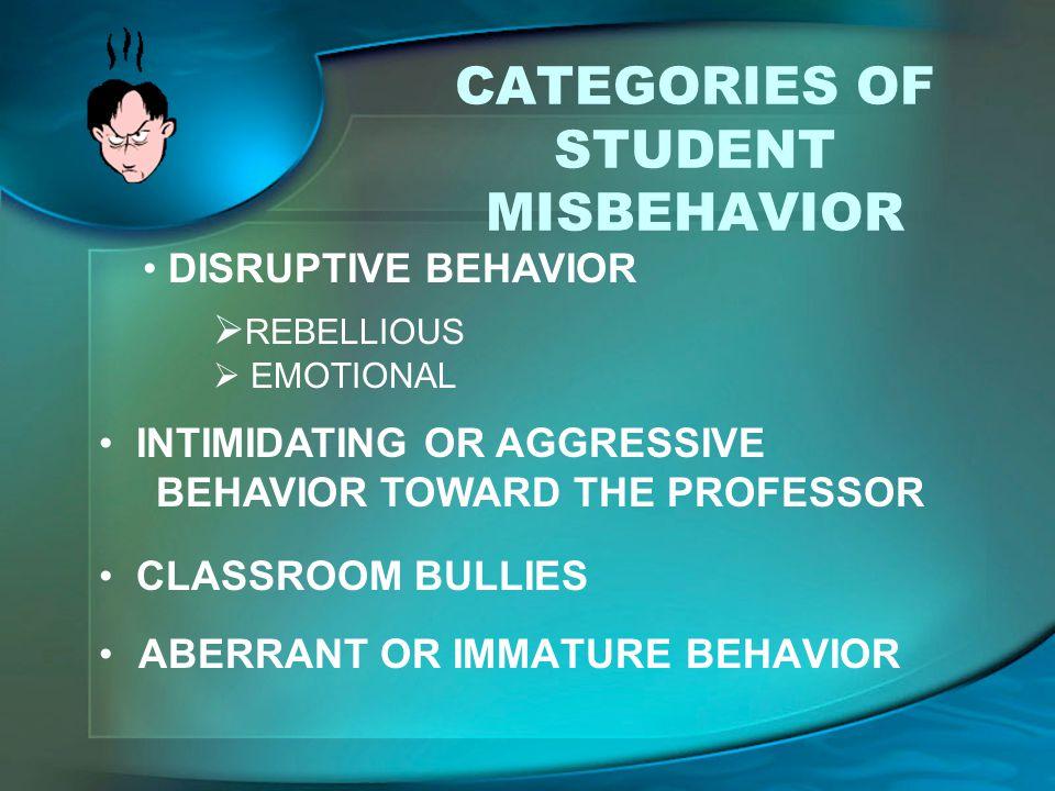 CATEGORIES OF STUDENT MISBEHAVIOR ABERRANT OR IMMATURE BEHAVIOR  REBELLIOUS  EMOTIONAL INTIMIDATING OR AGGRESSIVE BEHAVIOR TOWARD THE PROFESSOR CLAS