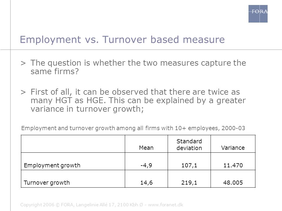 Copyright 2006 © FORA, Langelinie Allé 17, 2100 Kbh Ø - www.foranet.dk >Secondly, it can be observed that it is the same sectors that generate High Growth Firms in Denmark regardless of measure… Employment vs.