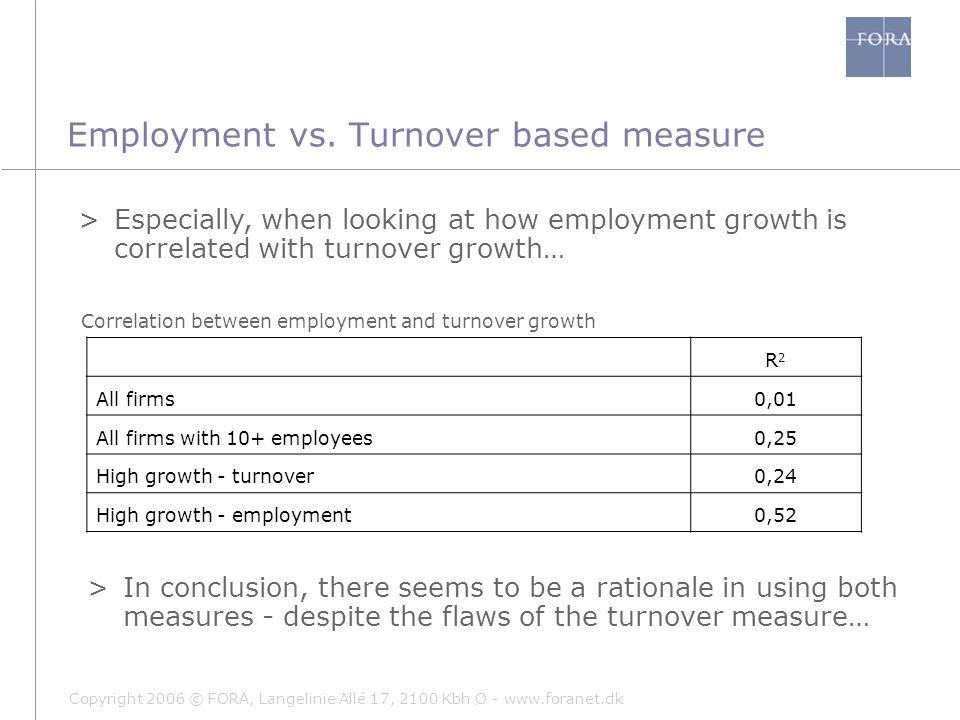 Copyright 2006 © FORA, Langelinie Allé 17, 2100 Kbh Ø - www.foranet.dk Employment vs. Turnover based measure >In conclusion, there seems to be a ratio