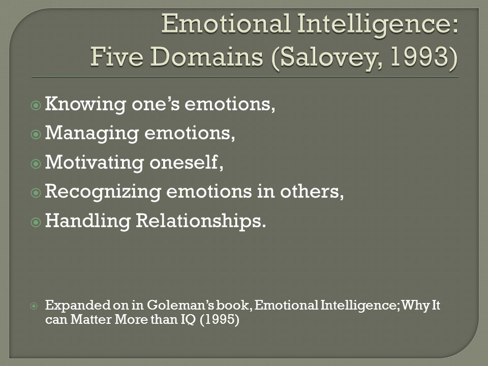  Knowing one's emotions,  Managing emotions,  Motivating oneself,  Recognizing emotions in others,  Handling Relationships.