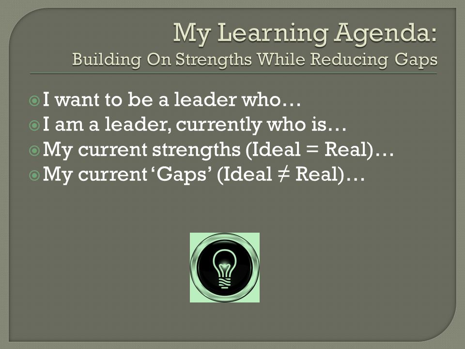  I want to be a leader who…  I am a leader, currently who is…  My current strengths (Ideal = Real)…  My current 'Gaps' (Ideal ≠ Real)…