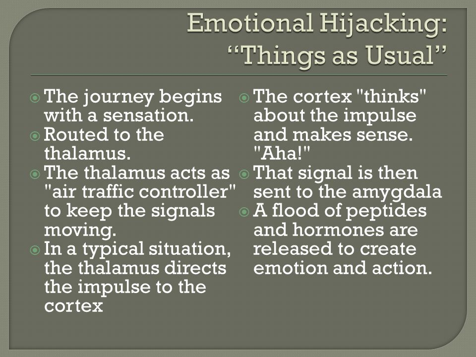  The journey begins with a sensation.  Routed to the thalamus.