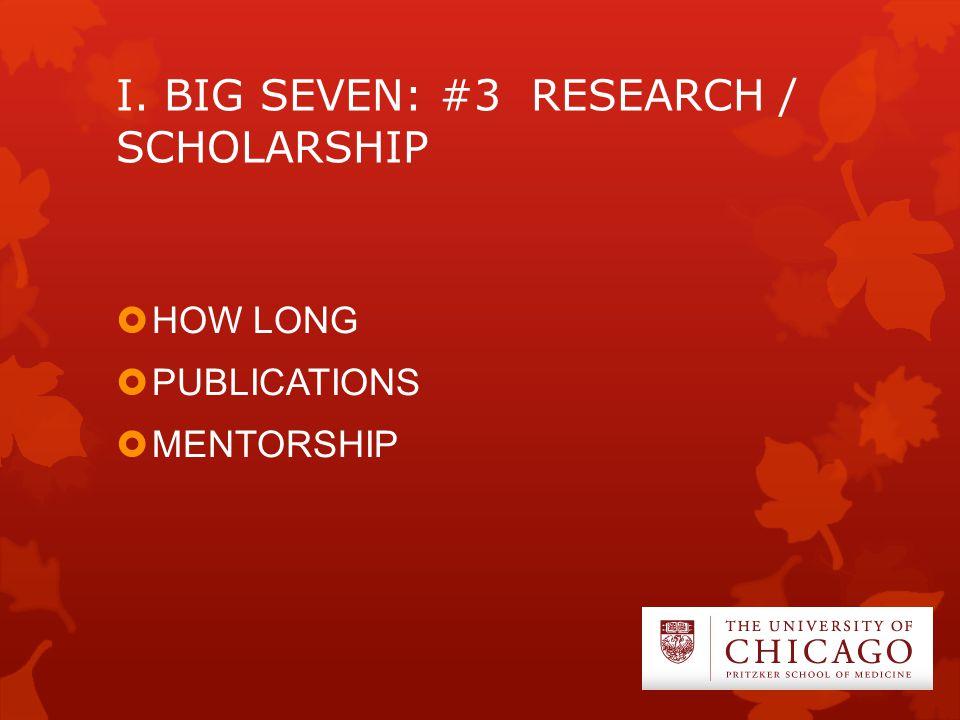 I. BIG SEVEN: #3 RESEARCH / SCHOLARSHIP  HOW LONG  PUBLICATIONS  MENTORSHIP