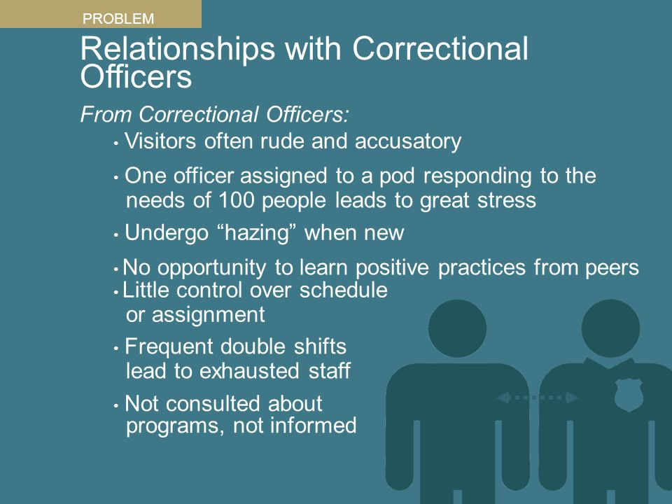 Relationships with Correctional Officers From Correctional Officers: PROBLEM One officer assigned to a pod responding to the needs of 100 people leads