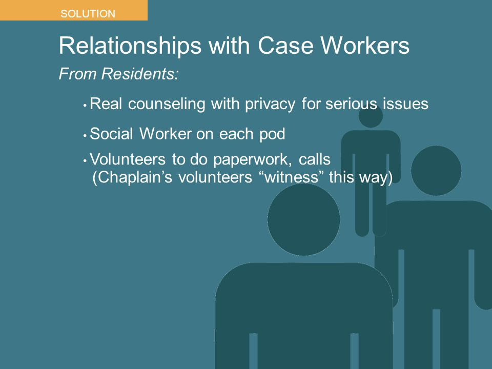 Relationships with Case Workers From Residents: SOLUTION Real counseling with privacy for serious issues Social Worker on each pod Volunteers to do paperwork, calls (Chaplain's volunteers witness this way)