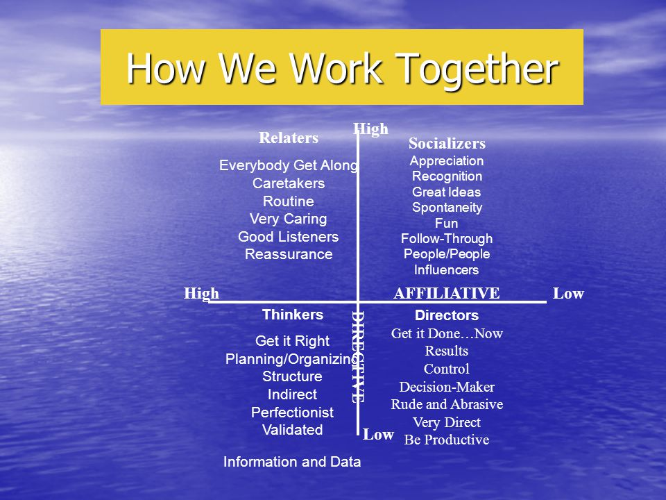 How We Work Together High Low AFFILIATIVE DIRECTIVE HighLow Relaters Everybody Get Along Caretakers Routine Very Caring Good Listeners Reassurance Socializers Appreciation Recognition Great Ideas Spontaneity Fun Follow-Through People/People Influencers Directors Get it Done…Now Results Control Decision-Maker Rude and Abrasive Very Direct Be Productive Thinkers Get it Right Planning/Organizing Structure Indirect Perfectionist Validated Information and Data