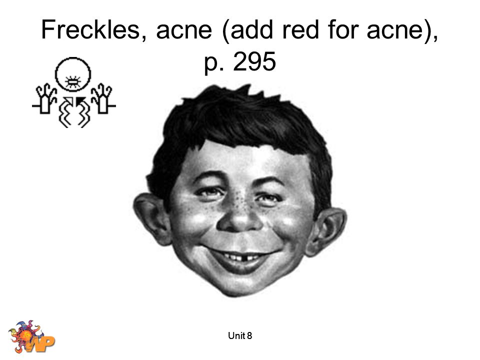Unit 8 Freckles, acne (add red for acne), p. 295