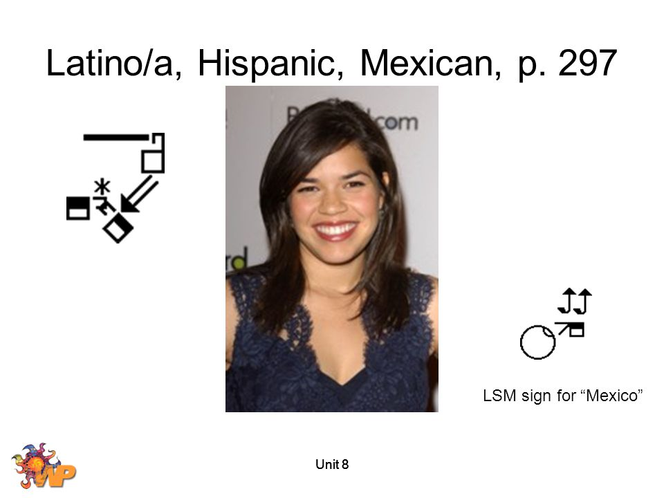 """Unit 8 Latino/a, Hispanic, Mexican, p. 297 LSM sign for """"Mexico"""""""