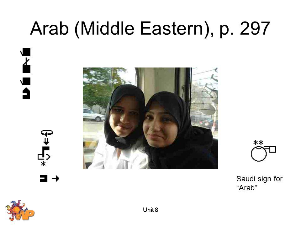 "Unit 8 Arab (Middle Eastern), p. 297 Saudi sign for ""Arab"""