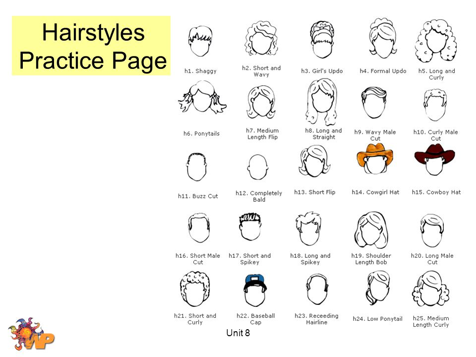Hairstyles Practice Page Unit 8
