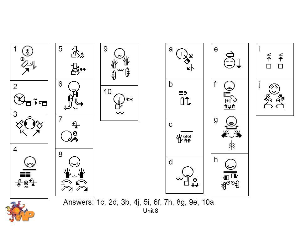 1 2 3 4 8 5 6 7 9 10 a b c d e f g h i j Answers: 1c, 2d, 3b, 4j, 5i, 6f, 7h, 8g, 9e, 10a Unit 8