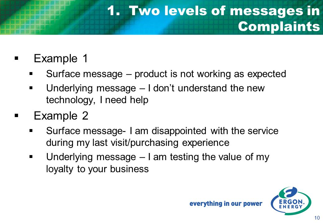 10 1. Two levels of messages in Complaints  Example 1  Surface message – product is not working as expected  Underlying message – I don't understan