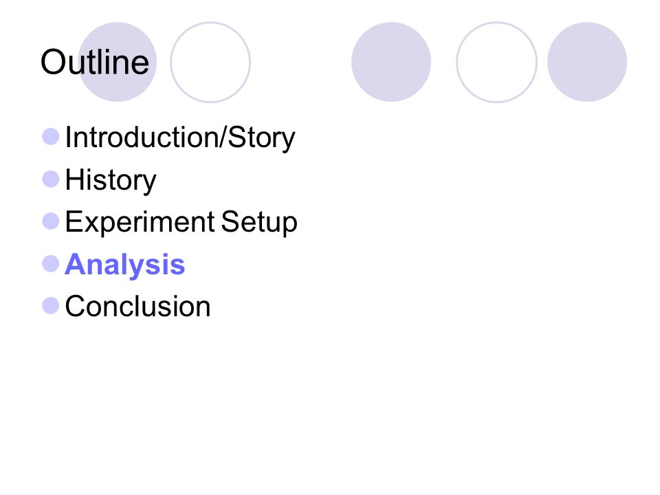 Outline Introduction/Story History Experiment Setup Analysis Conclusion