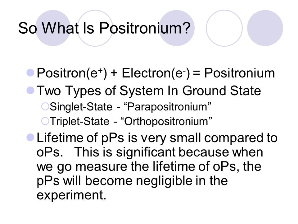 So What Is Positronium.