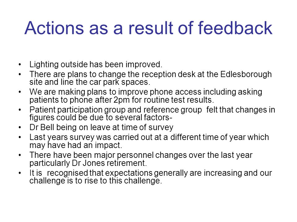 Actions as a result of feedback Lighting outside has been improved. There are plans to change the reception desk at the Edlesborough site and line the