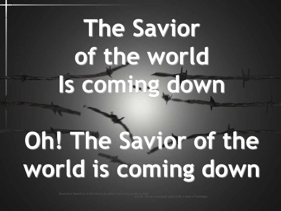 The Savior of the world Is coming down Oh! The Savior of the world is coming down