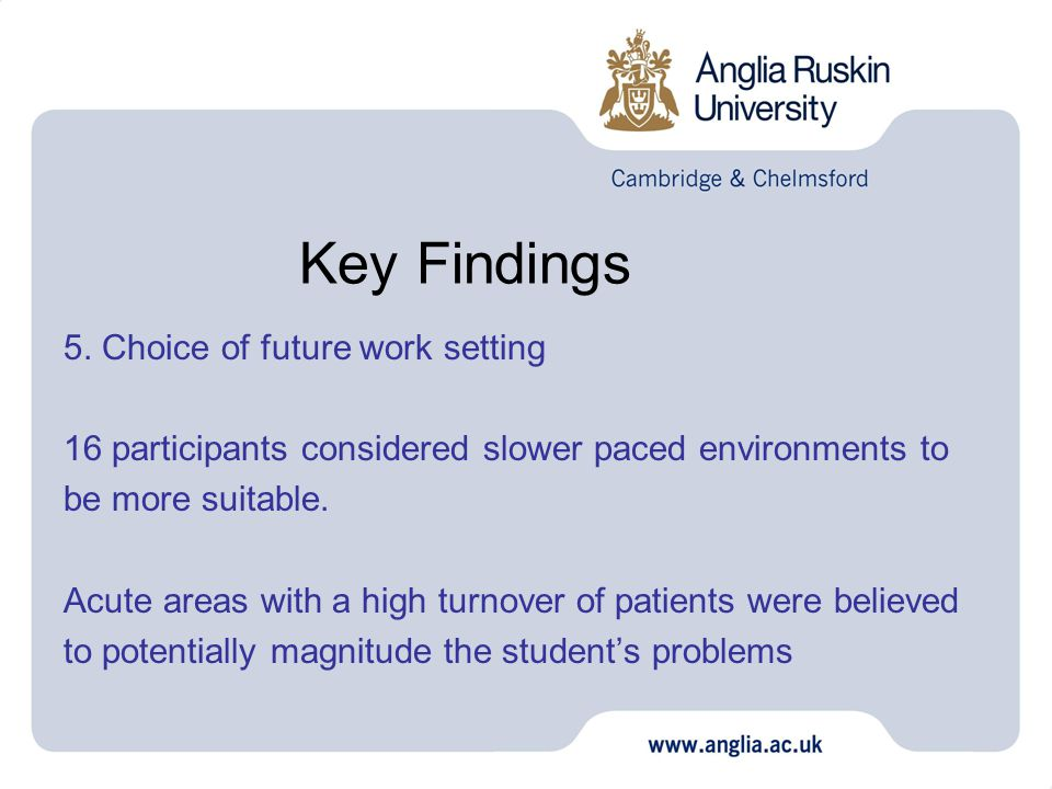 Key Findings 5. Choice of future work setting 16 participants considered slower paced environments to be more suitable. Acute areas with a high turnov
