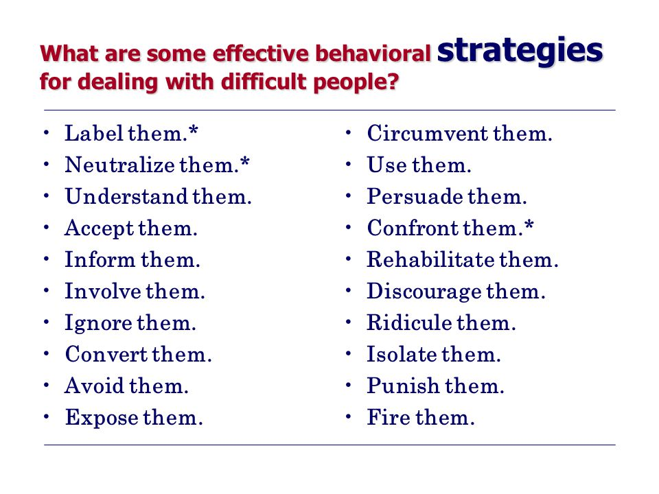 What are some effective behavioral strategies for dealing with difficult people.
