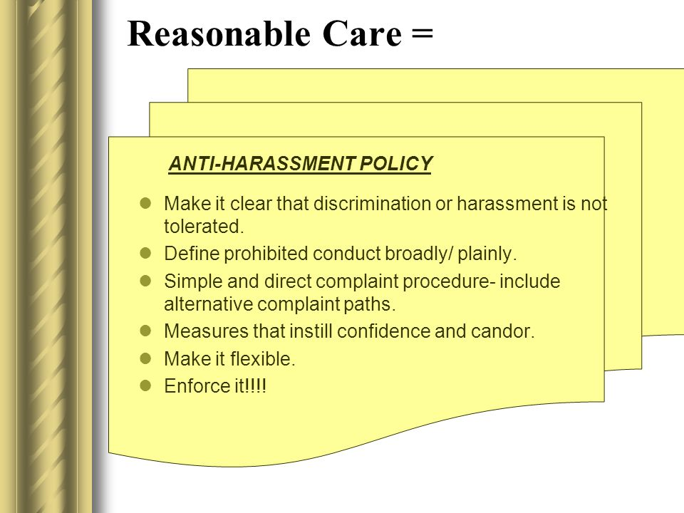 20 AGENCY LIABILITY For actionable harassment, there is no liability if: The employer exercised reasonable care in preventing the harassment The emplo