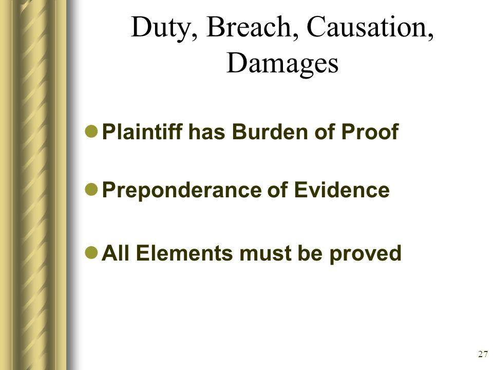 26 General principles of liability Duty: Arises in 4 main ways –Common Law –Legislation –Regulatory (CMS, JCAHO) –Hospital and Nursing Policy Breach (
