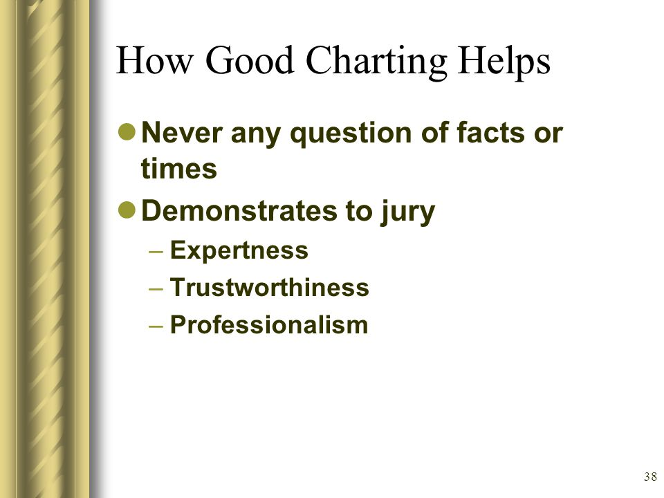 37 How Bad Charting Hurts What poor documentation allows the plaintiff to do –Your word against theirs –Patient Recall Generally Poor They can confabulate, you cannot refute –Duke Study in 2003 –Australia Study in Radiology 2003 –If they have had any poor result jury may be sympathetic