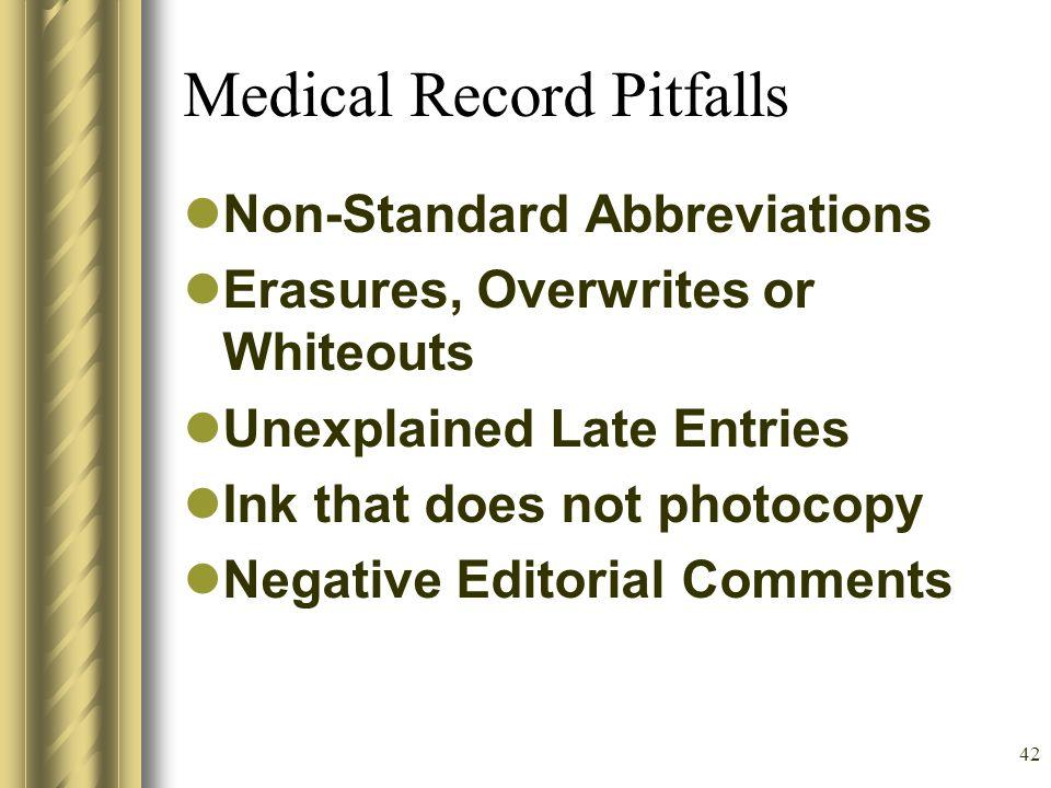 41 Medical Record Pitfalls