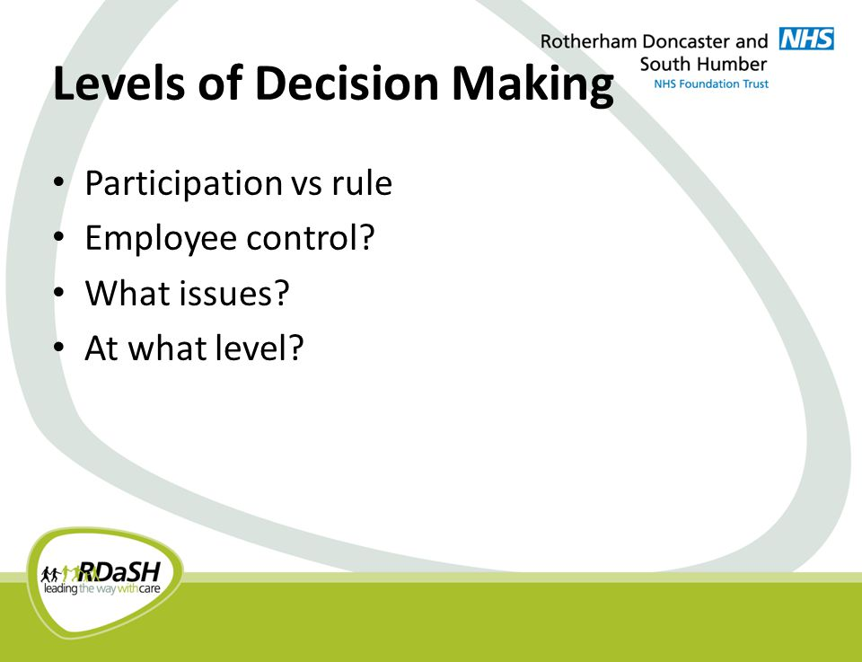 Levels of Decision Making Participation vs rule Employee control? What issues? At what level?