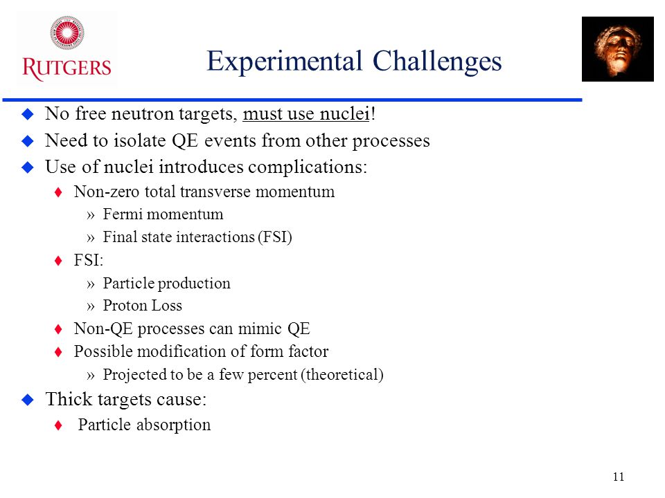 11 Experimental Challenges  No free neutron targets, must use nuclei.