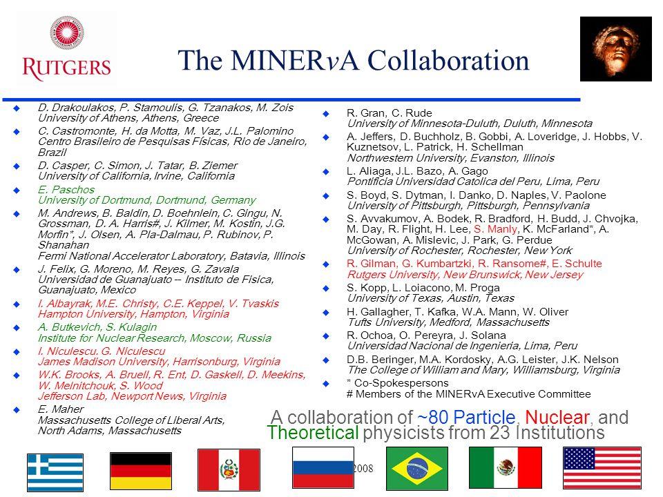DNP Oct. 2008 2 The MINERvA Collaboration  D. Drakoulakos, P. Stamoulis, G. Tzanakos, M. Zois University of Athens, Athens, Greece  C. Castromonte,