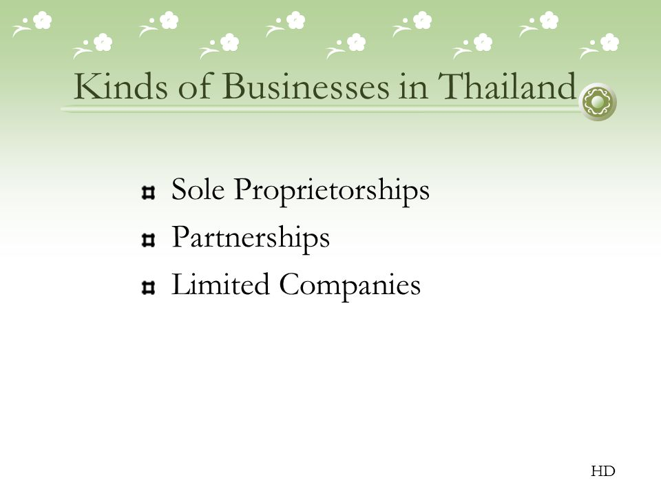 Kinds of Businesses in Thailand Sole Proprietorships Partnerships Limited Companies HD
