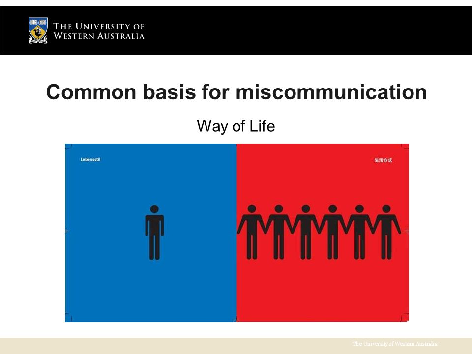 The University of Western Australia Common basis for miscommunication Way of Life