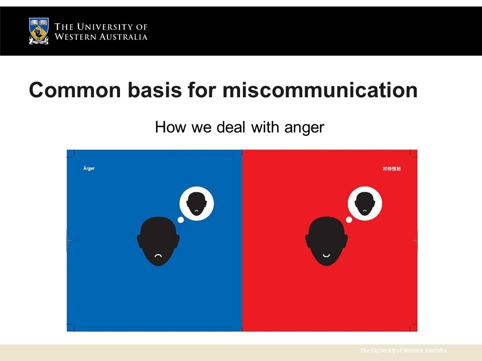 The University of Western Australia Common basis for miscommunication How we deal with anger