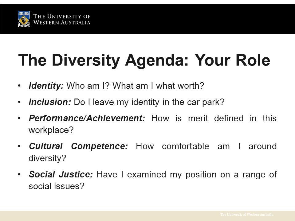The University of Western Australia The Diversity Agenda: Your Role Identity: Who am I.