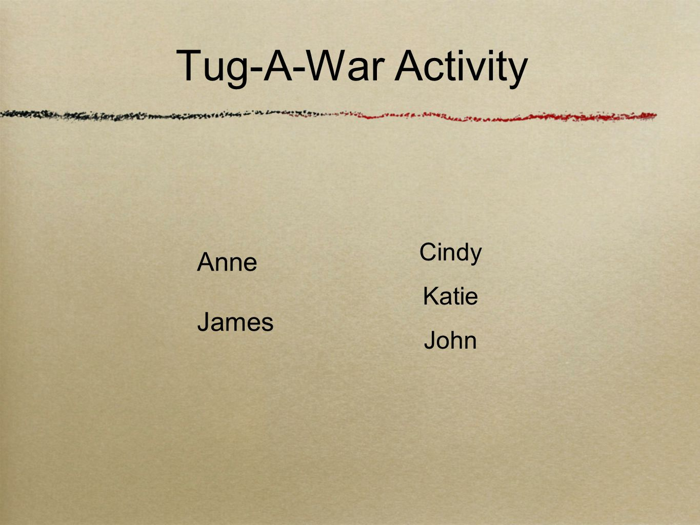 Tug-A-War Activity Anne James Cindy Katie John