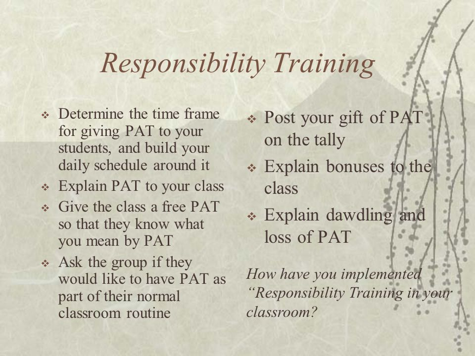 Responsibility Training  Determine the time frame for giving PAT to your students, and build your daily schedule around it  Explain PAT to your clas