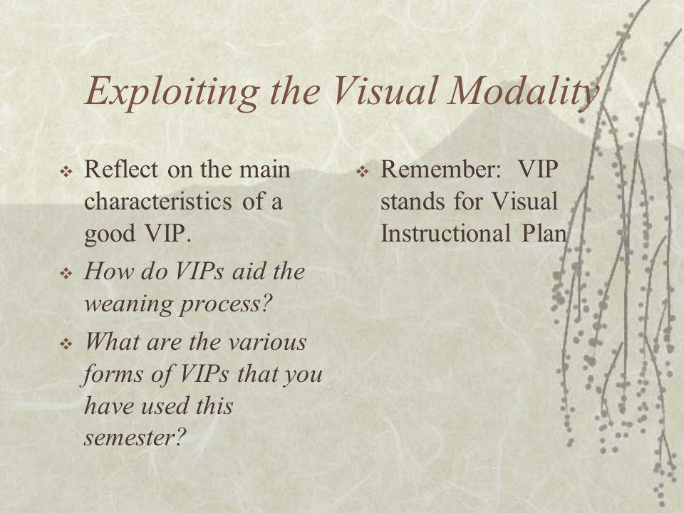 Exploiting the Visual Modality  Reflect on the main characteristics of a good VIP.
