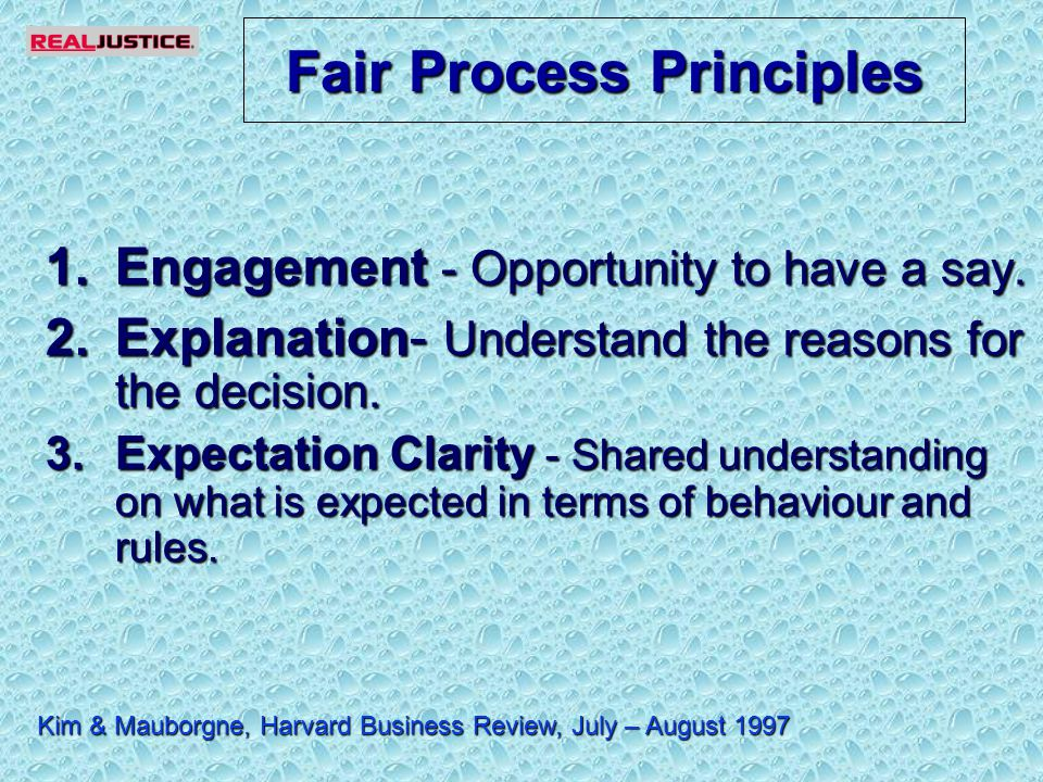 Fair Process Principles 1.Engagement - Opportunity to have a say.