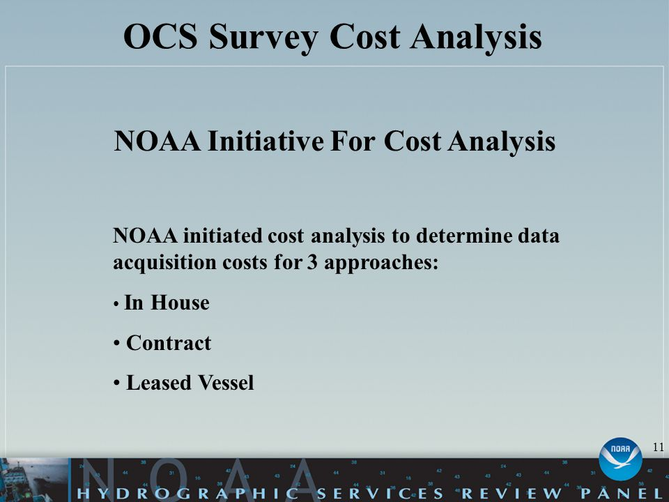 OCS Survey Cost Analysis NOAA Initiative For Cost Analysis NOAA initiated cost analysis to determine data acquisition costs for 3 approaches: In House