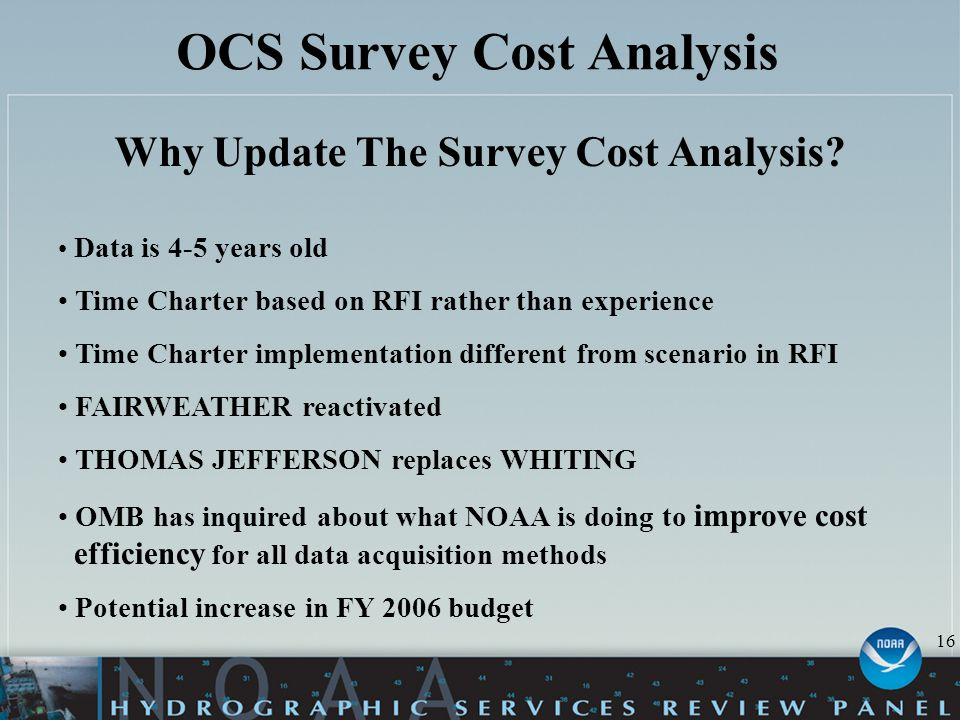 OCS Survey Cost Analysis Why Update The Survey Cost Analysis.