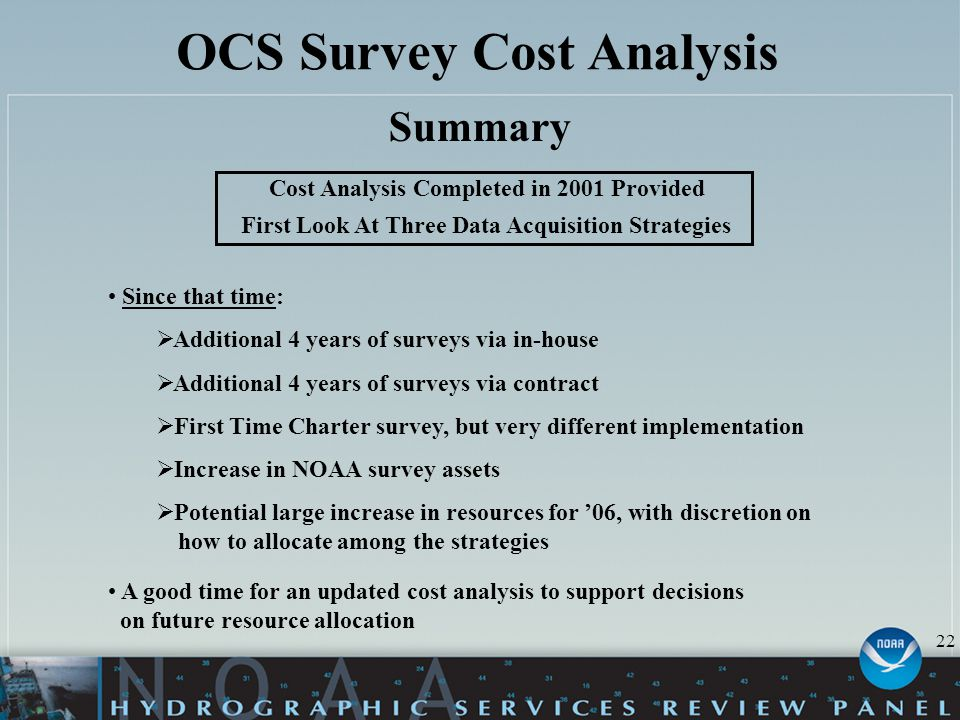 OCS Survey Cost Analysis Summary Since that time:  Additional 4 years of surveys via in-house  Additional 4 years of surveys via contract  First Ti